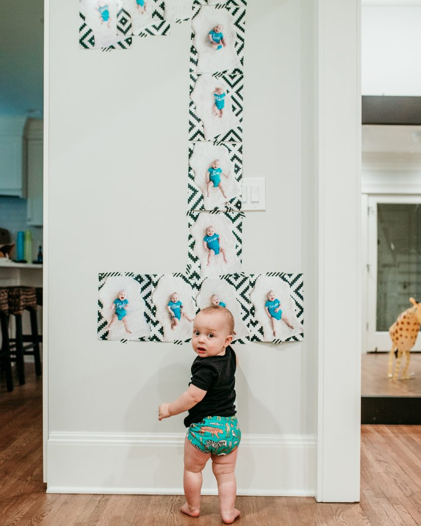 Number 1 First Birthday Party Wall decor using milestone photos