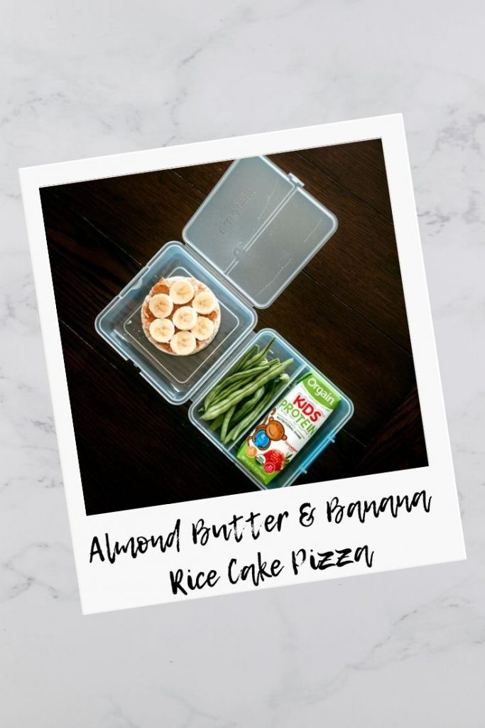 Almond butter and banana rice cake pizza