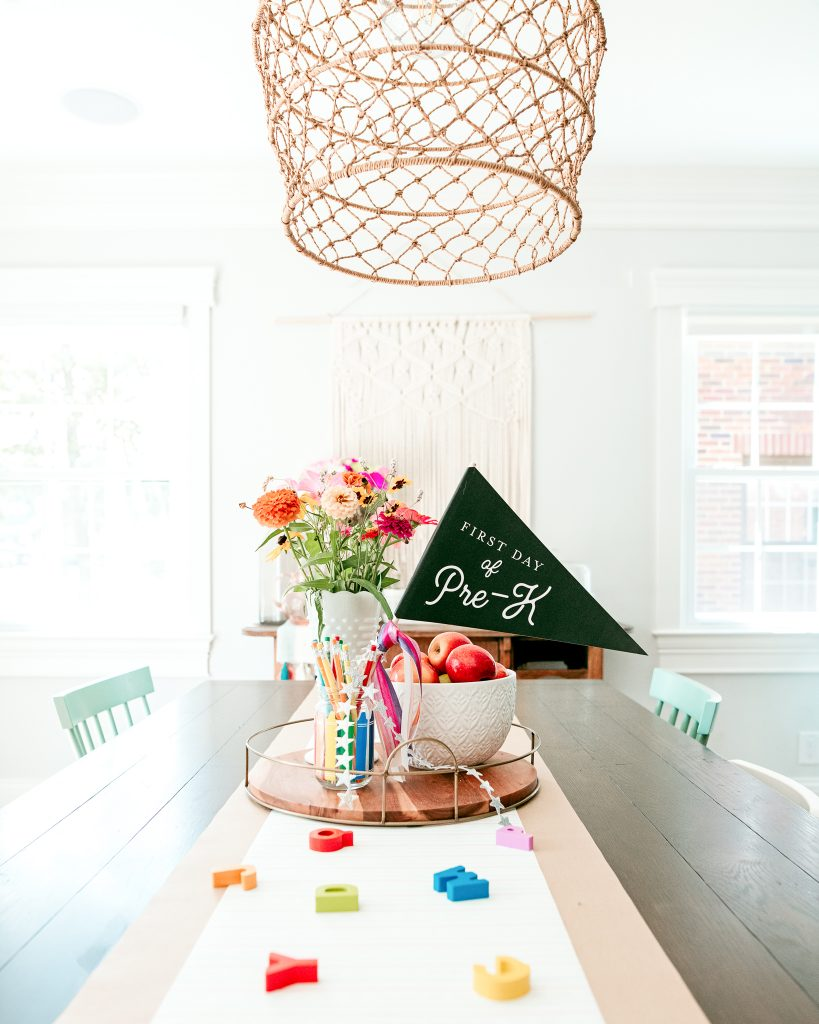 Celebrating new first day of school traditions ! Cute first day decor setup!