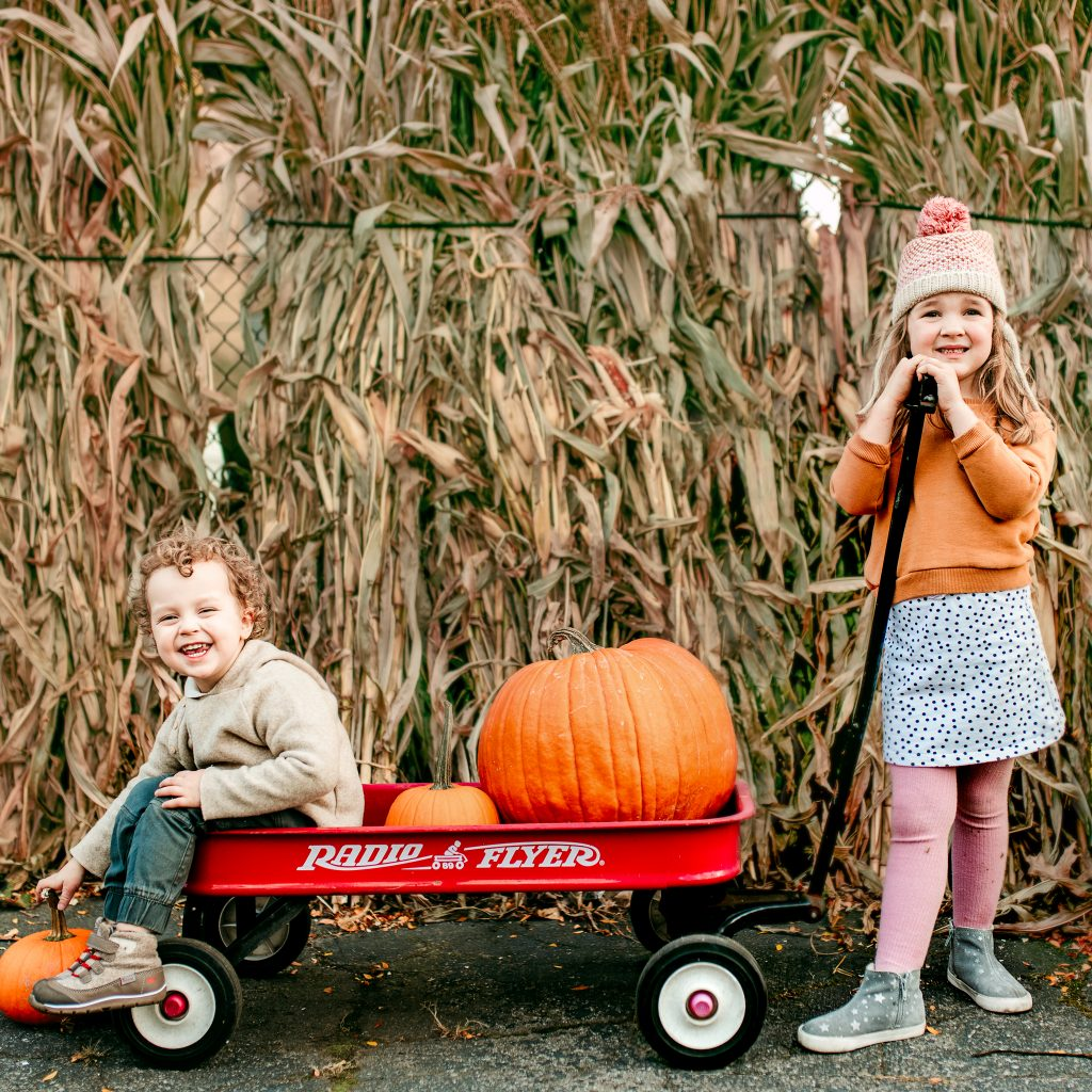 Siblings at the pumpkin patch