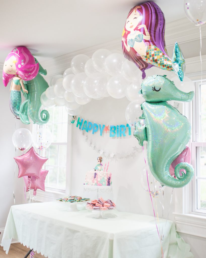 Mermaid Birthday Party Dessert Table and Balloons