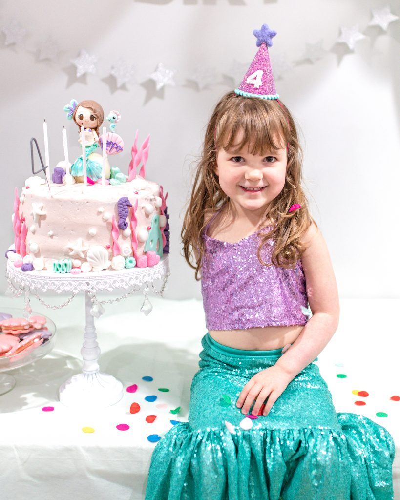 Mermaid Birthday Party Cake and Birthday Girl Outfit
