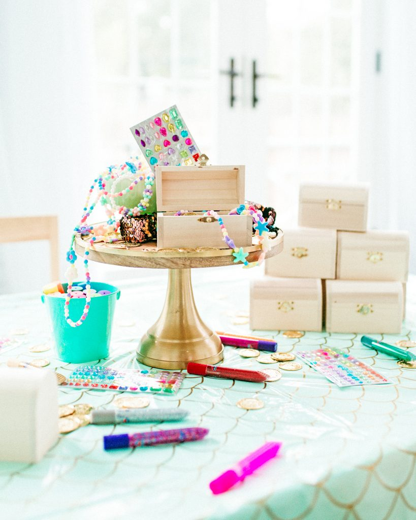 Mermaid Birthday Activity and Favor- Decorate and Fill your own Treasure Chest
