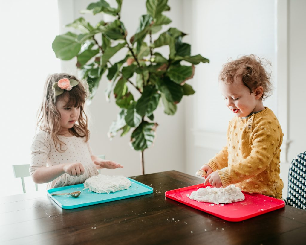 Preschool Winter Sensory Play with Snow Dough