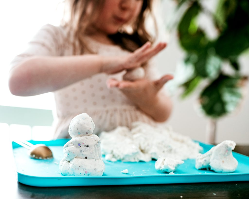 Making Snowmen out of Snow Dough. Recipe for fun winter sensory play!