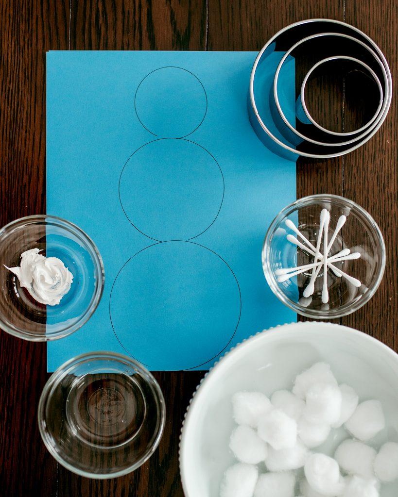 Create a fun marshmallow snowman winter craft idea!