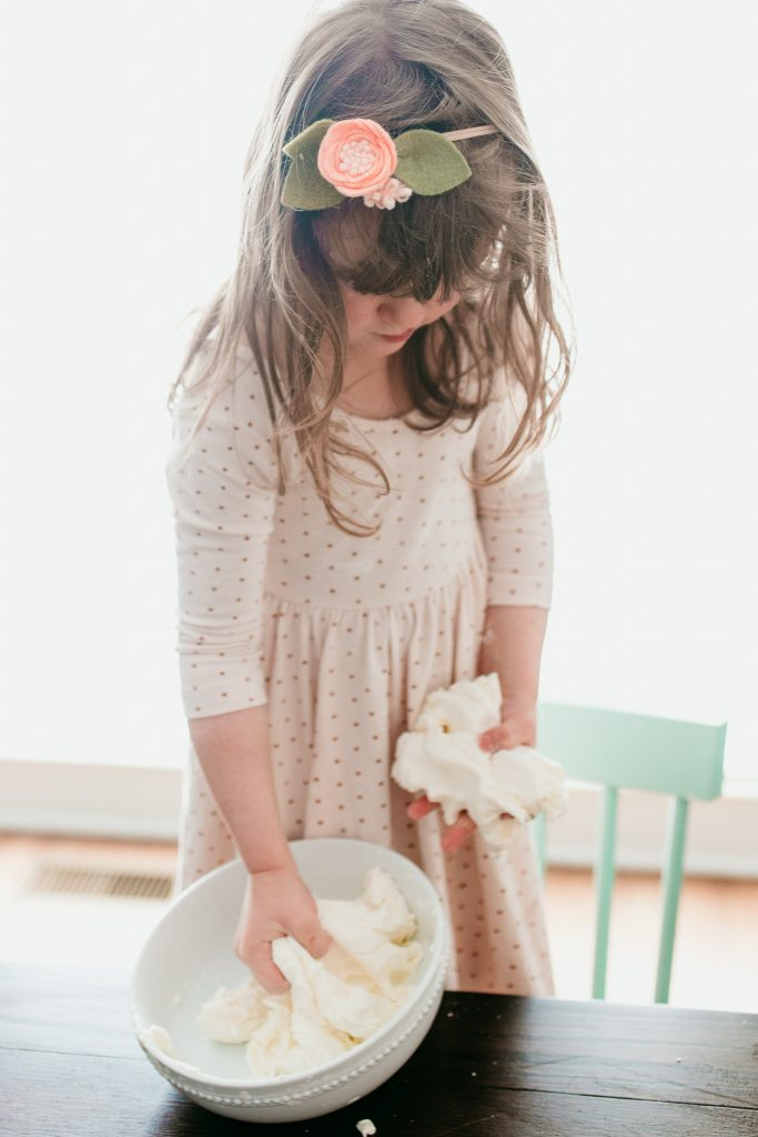 Playing with Snow Dough. A fun winter sensory play recipe!