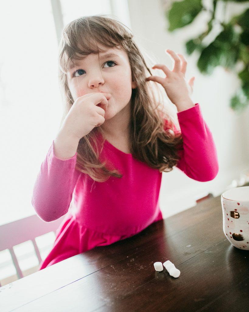 Eating marshmallows!