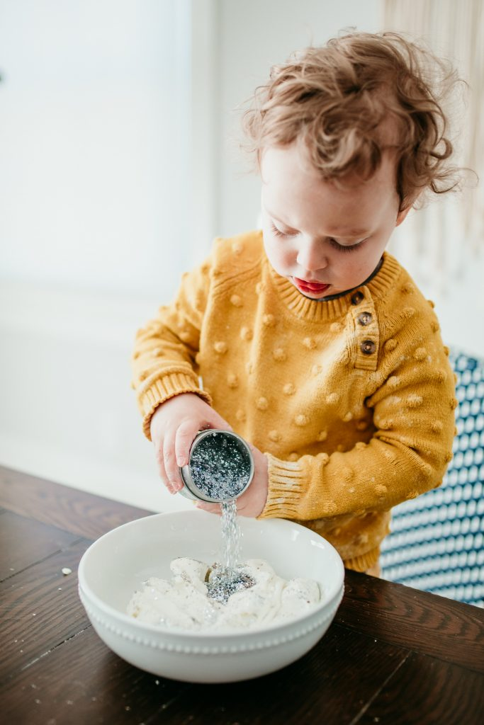 Make your own winter sensory Snow Dough