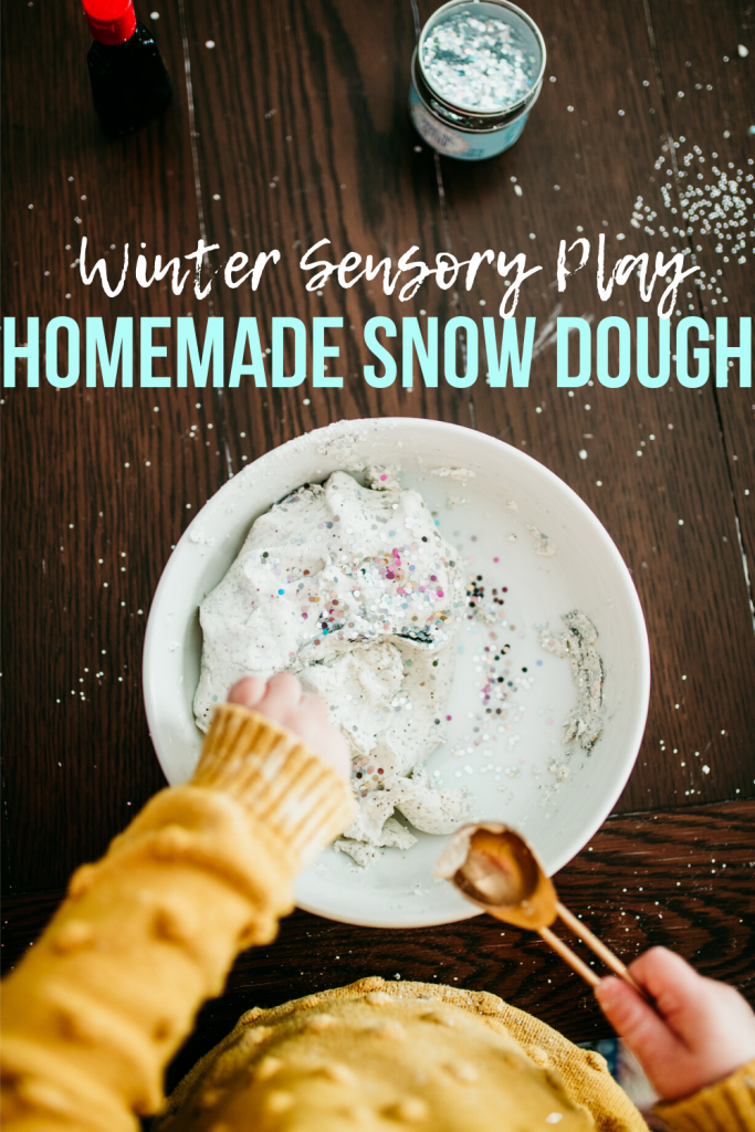 Homemade Snow Dough- Winter Sensory play for kids using a simple recipe and only 2 ingredients!