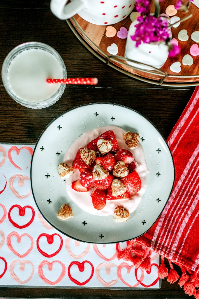 Adorable Valentine breakfast with a DIY heart stamp placemat!