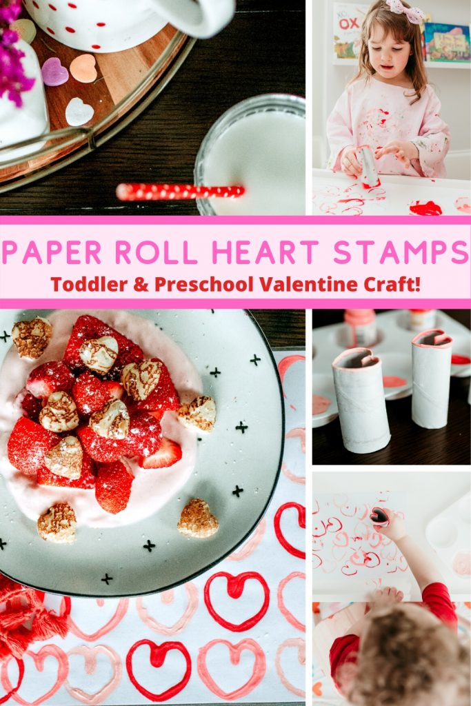Easy to make heart print art using empty paper rolls! Perfect Valentine craft for toddlers and preschoolers! Create colorful patterns or open-ended art! Plus, how to turn your child's artwork into functional pieces.