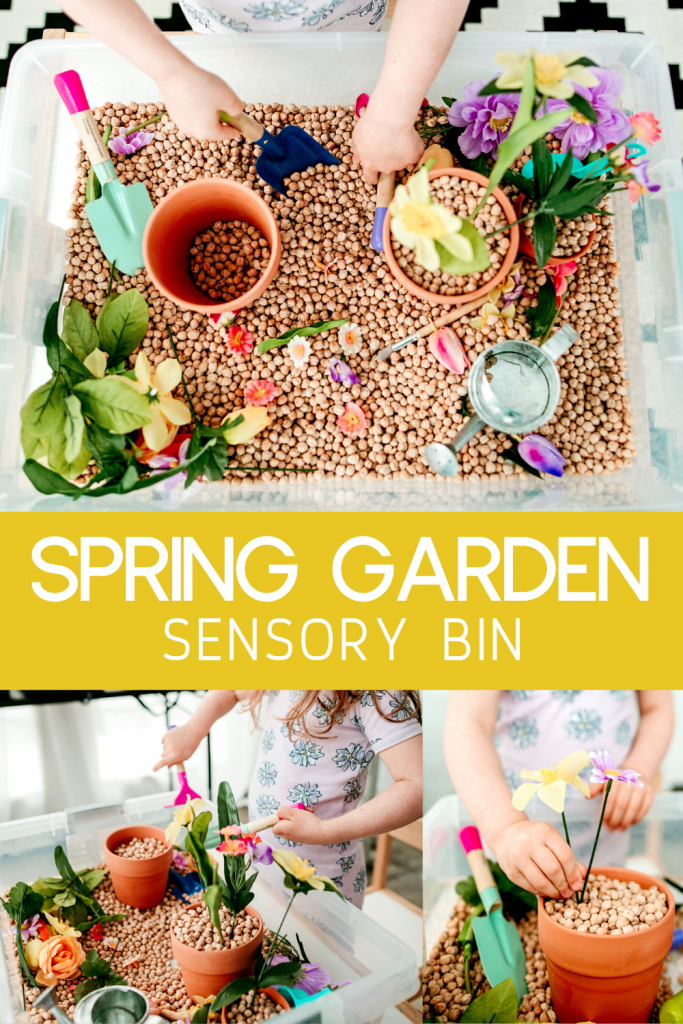 A spring garden sensory bin is the perfect preschool activity to let kids and toddlers to dig in to gardening this spring- no dirt required! Mess free!