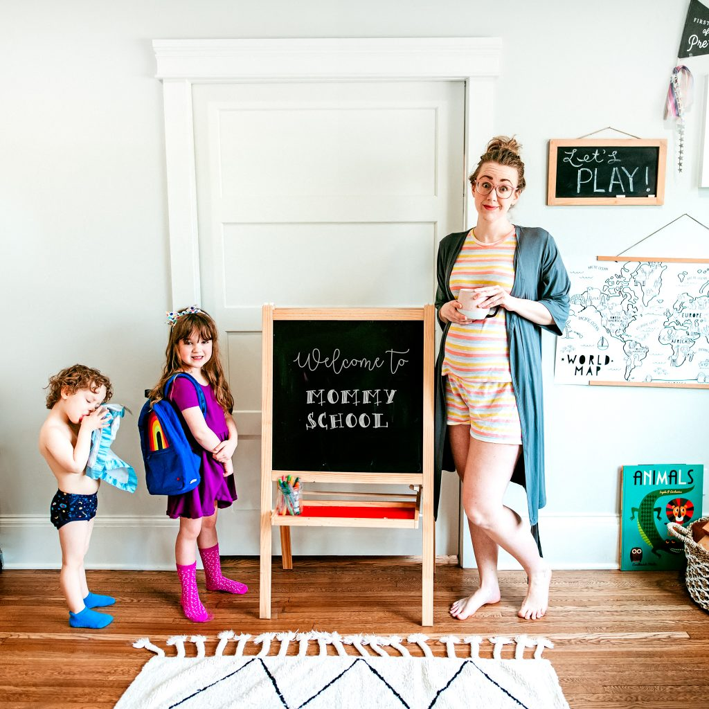 At home preschool schedule to use during Coronavirus closures. Tips for implementing a preschool based home schedule plus different activities !