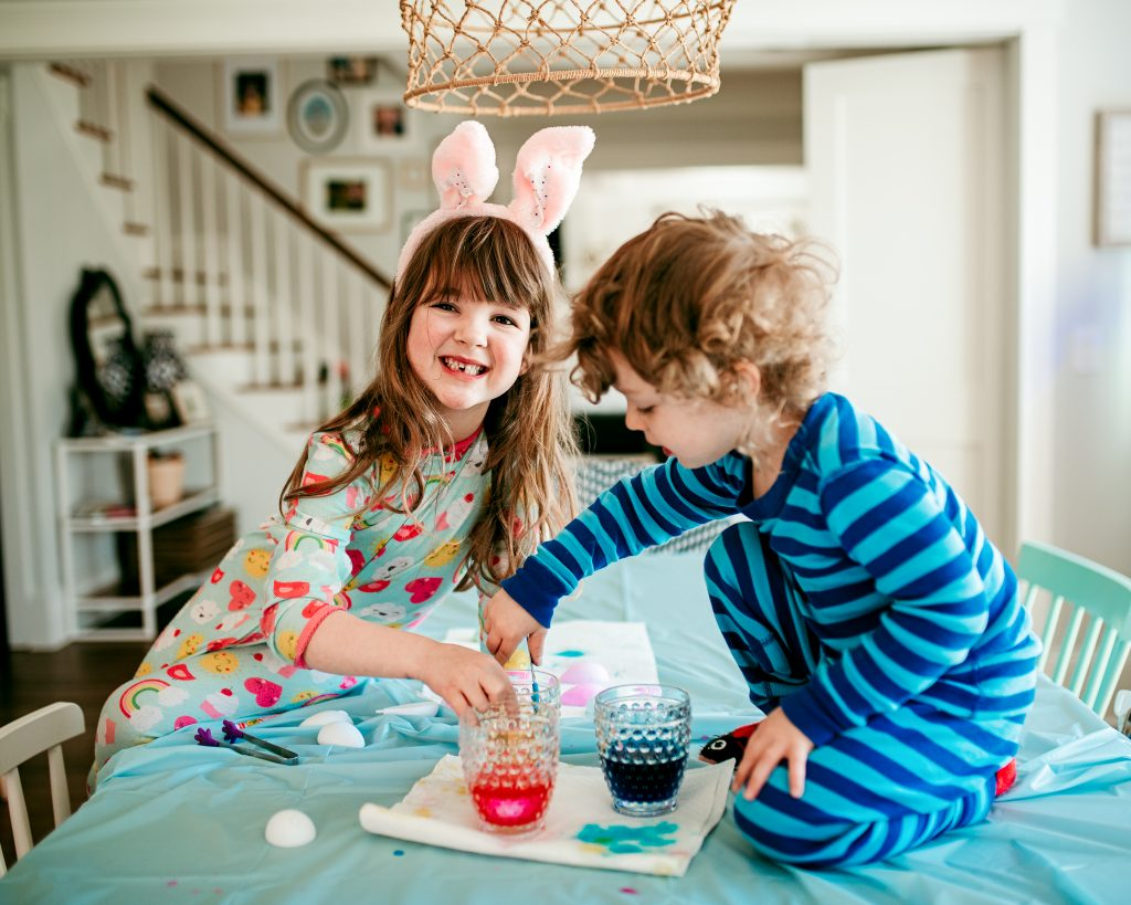 Dyeing Easter eggs at home with kids