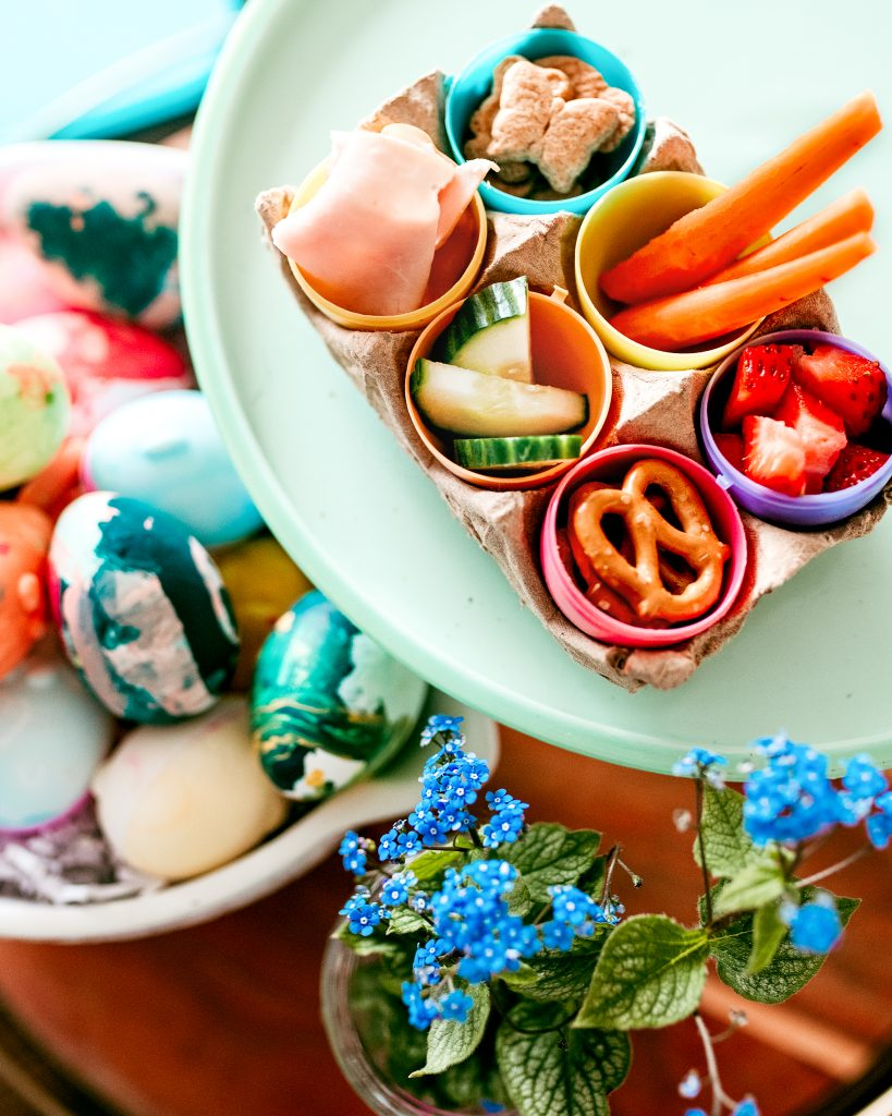 Easter Lunch. Adorable Easter egg carton lunch for toddlers and kids! Make Easter at home eggs-tra special!