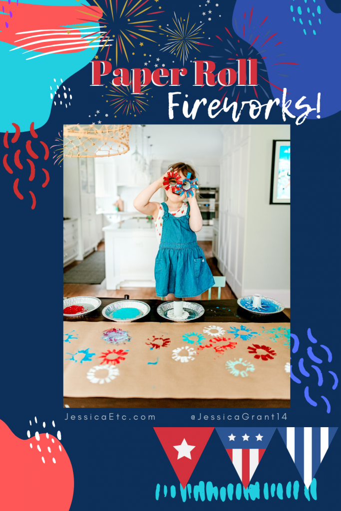 Check out this easy 4th of July firework craft activity using upcycled paper rolls. Make a firework art project that is fun for all ages! It's the perfect 4th of July craft for toddlers through school age!