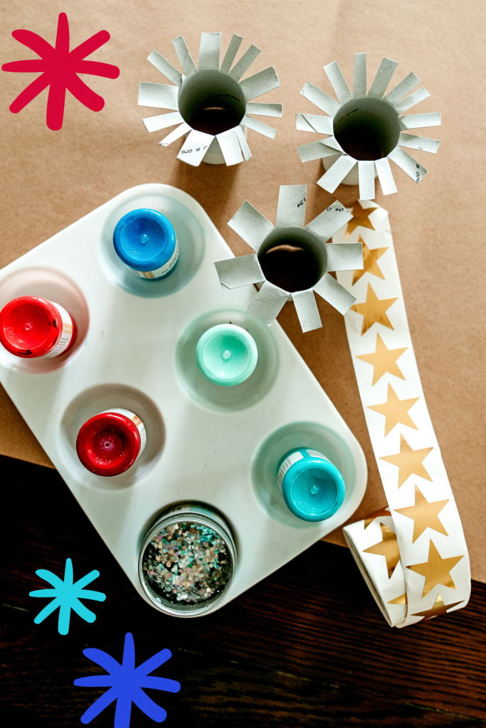 How to turn paper rolls into fireworks! A fun and easy 4th of July craft for all ages!