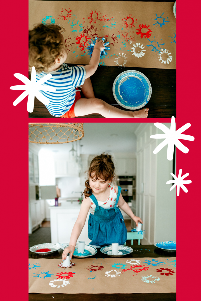 Use paper roll stamps to create a sky full of fireworks! Fun and easy 4th of July craft for all ages