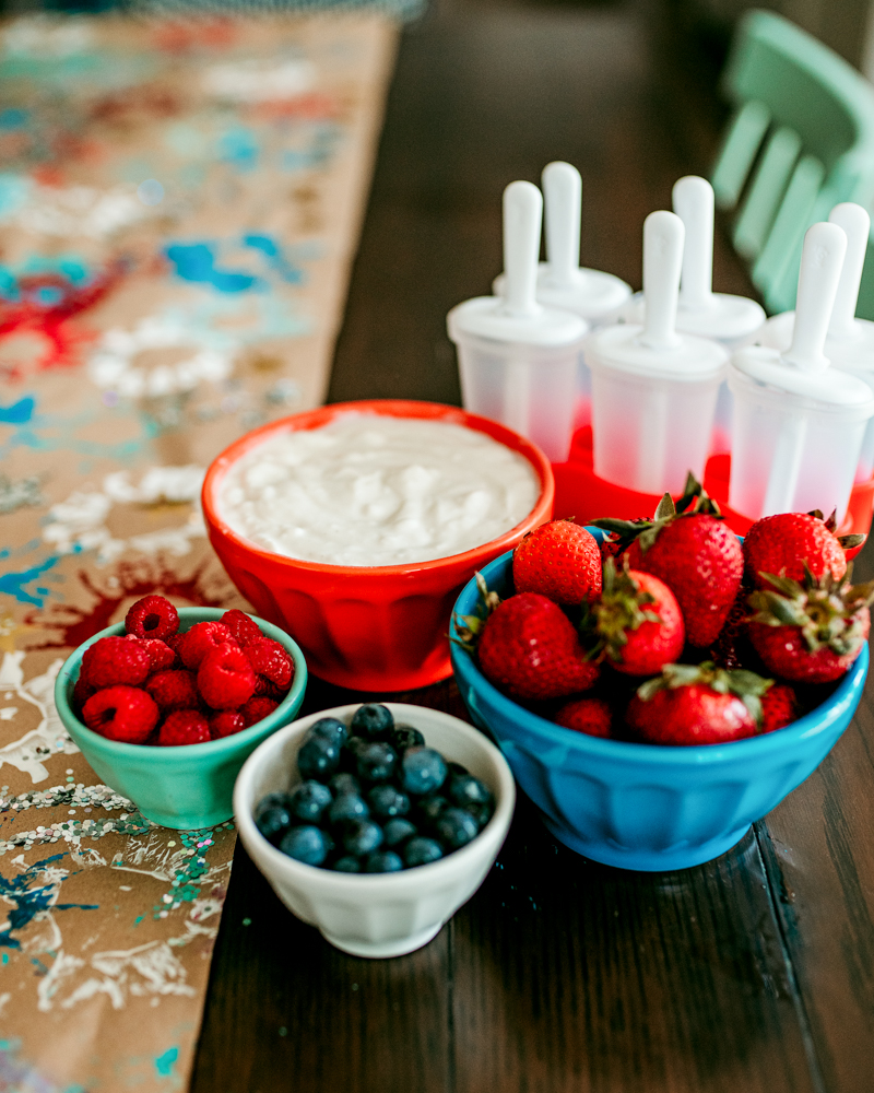 Recipe for Patriotic Pops! Red, White and Blue fruit and yogurt popsicles for the Fourth of July!