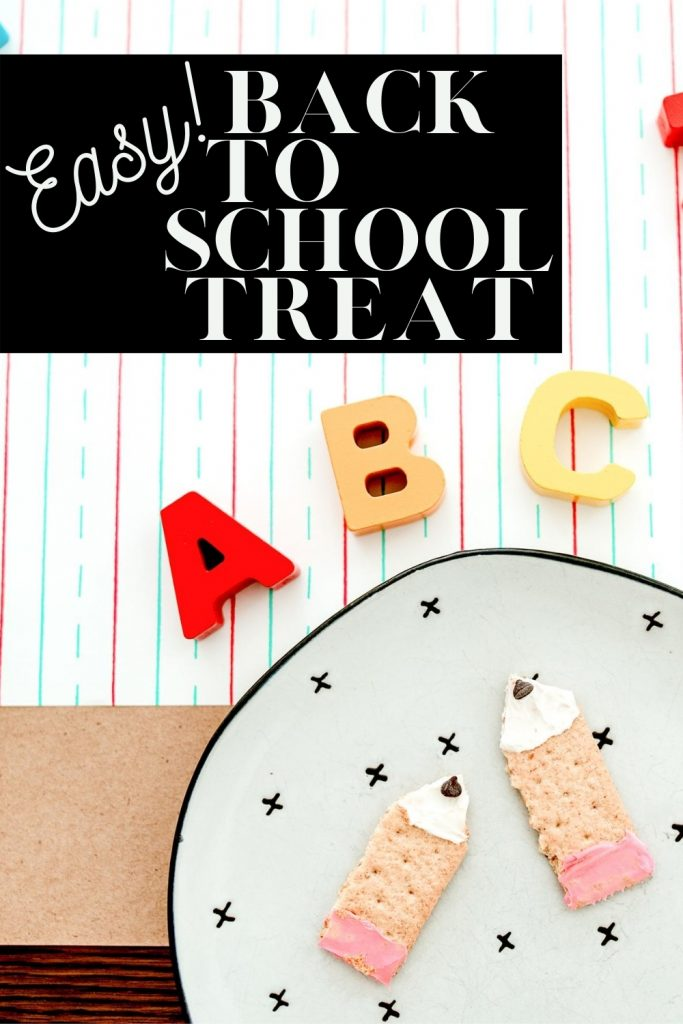 Make an adorable back to school treat to celebrate the first day of school. This graham cracker pencil recipe is simple and allergy-friendly!