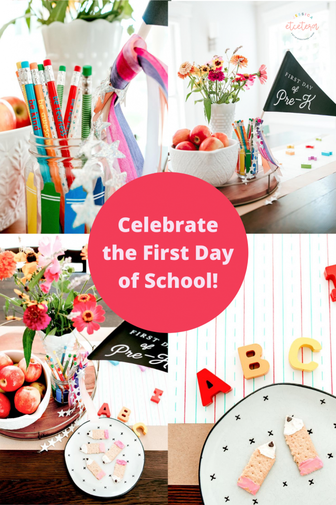 Happy first day of school ! Celebrate the kids going back to school with simple party decor and a pencil themed school treat recipe !
