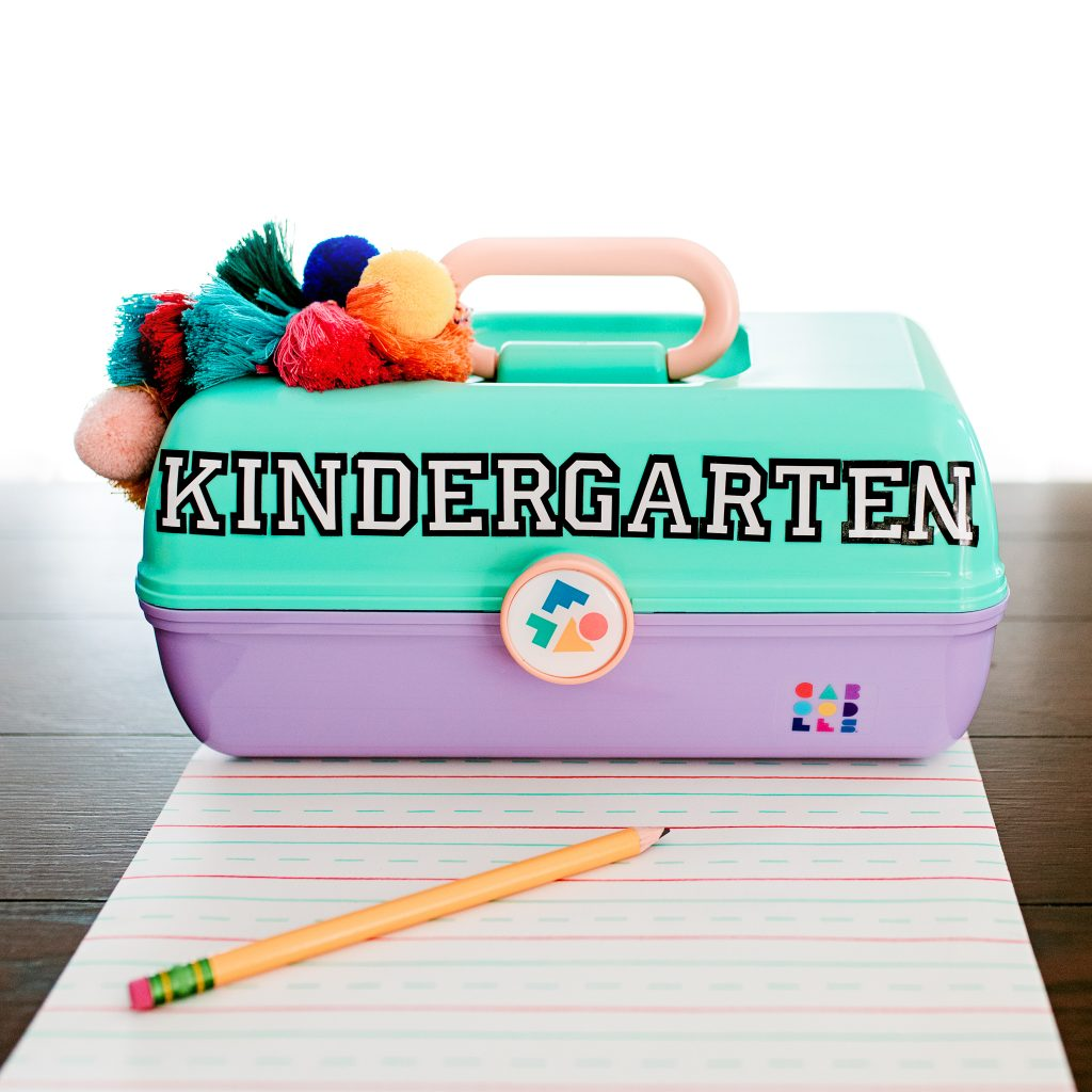 School supply storage at home with  this customized portable kit! DIY
