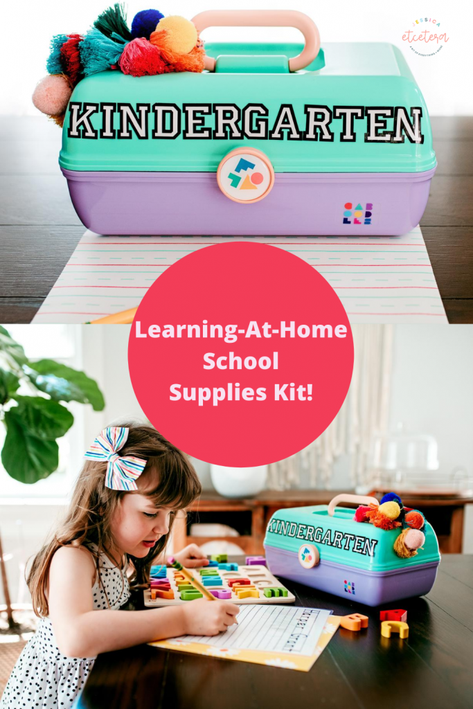 Create a fun and personalized homeschool storage solution! Make your homeschool classroom portable with this School Supplies Kit! Perfect for keeping small spaces organized. #homeschool #remotelearning #distancelearning #backtoschool