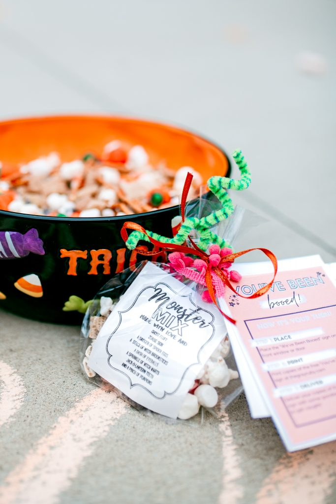 Celebrate Halloween by making a big batch of spooky trail-mix and Boo your friends!