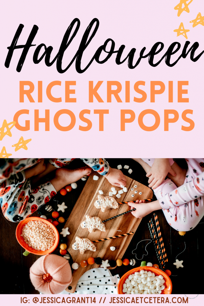 Halloween Treat for kids! Rice krispie ghost pops are a perfect fall treat for home or school.