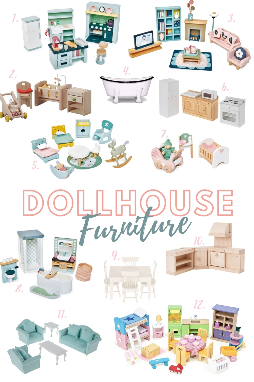 Adorable list of dollhouse furniture for refinishing a dollhouse makeover in time for Christmas!