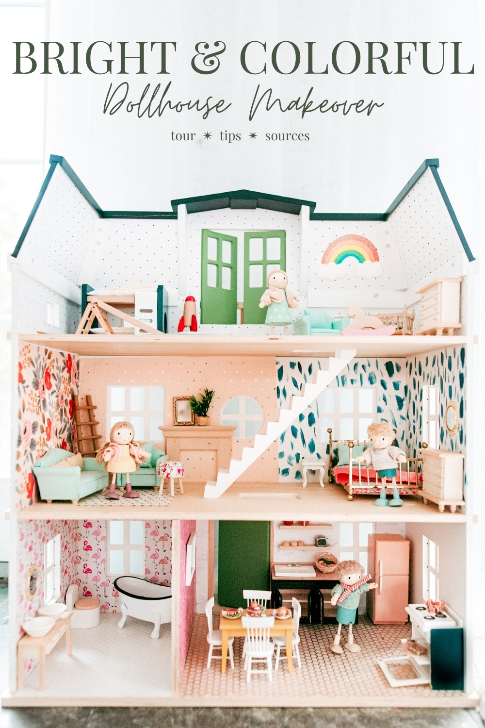 Tour, tips, and best buys for a bright and colorful DIY dollhouse makeover!  @jessicagrant14 on IG