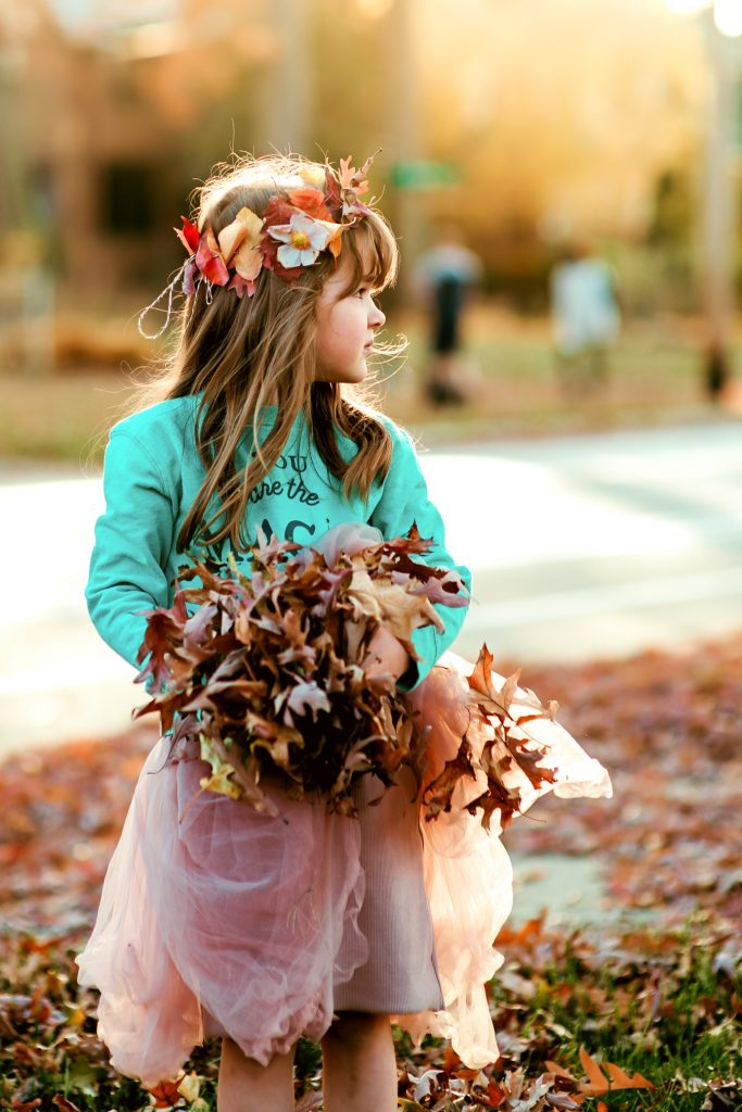 Gorgeous fall photo featuring an autumn leaf crown
