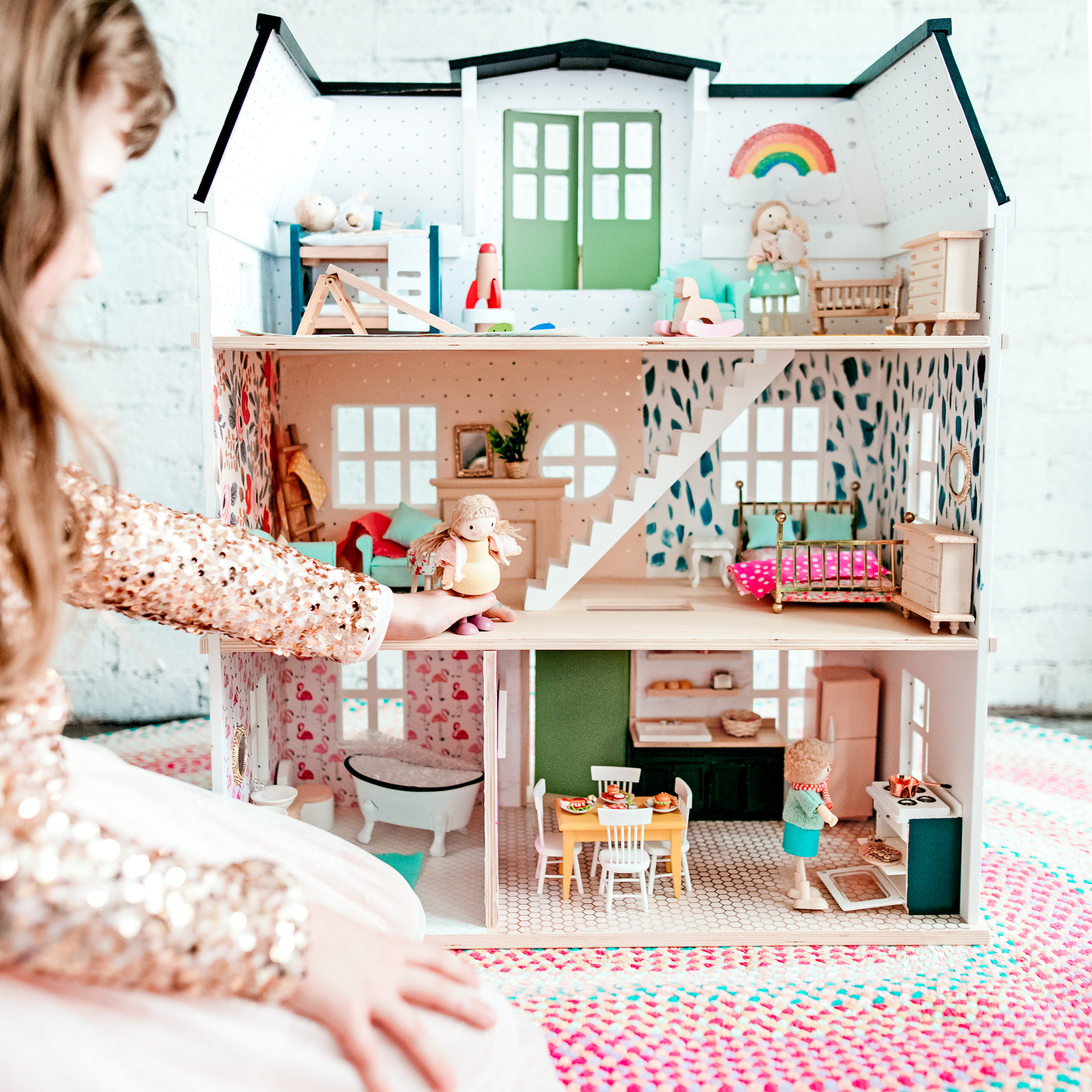 Bright and Colorful DIY Hearth and Hand Dollhouse Makeover; tour, decor source list, and tips for renovating a dollhouse!