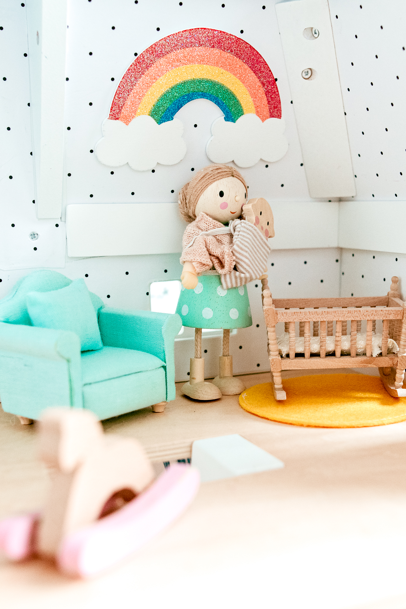 Dollhouse polka dot and rainbow nursery. Cute dollhouse dolls
