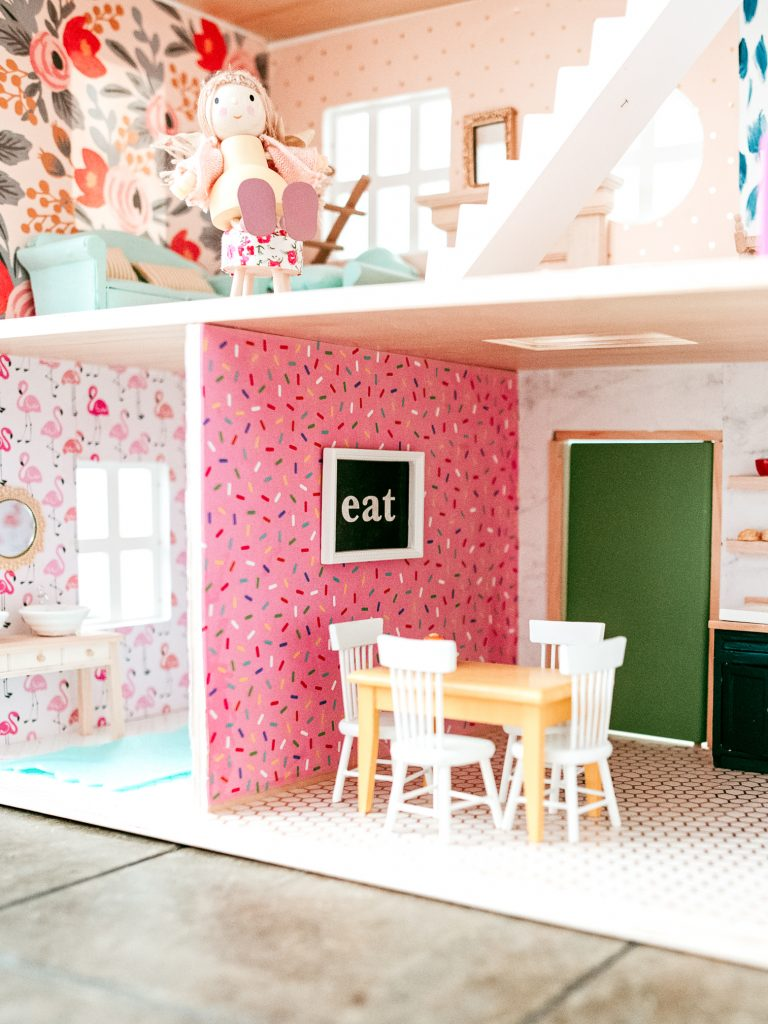 How to wallpaper your dollhouse; tips, tricks and source lists for a fun and colorful dollhouse makeover!