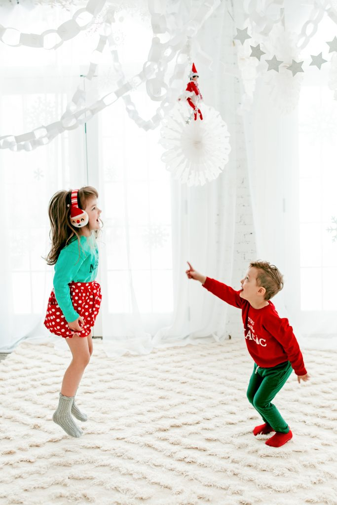 Elf on the Shelf December 1 magical  North Pole arrival. How to make a snowflake ceiling