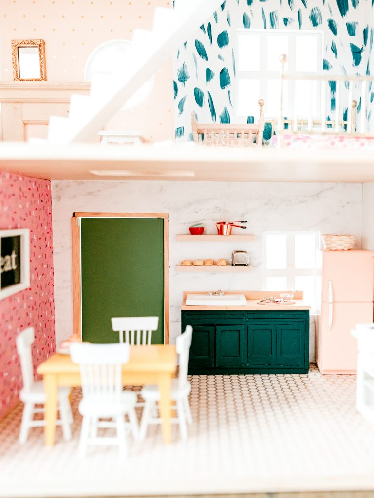 Fun and Colorful Dollhouse kitchen makeover
