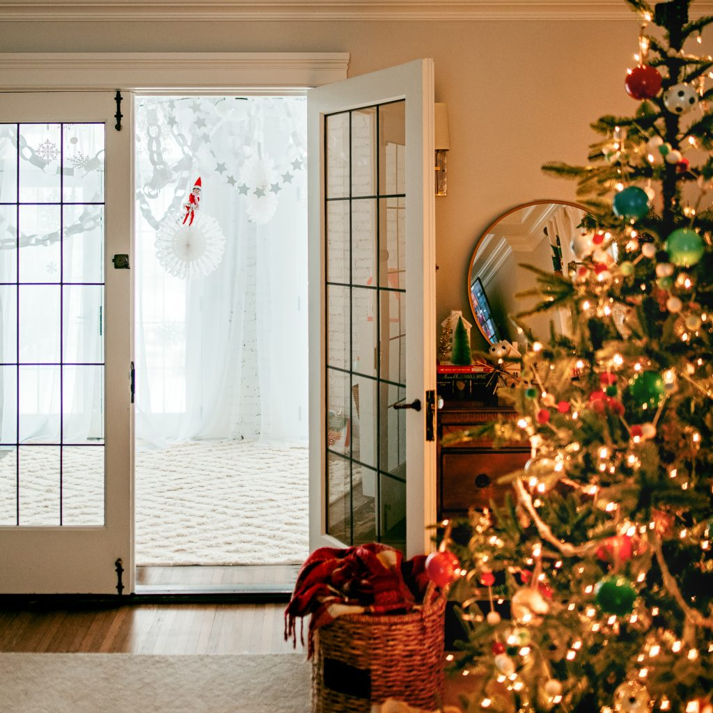 Whimsical Christmas decor created with paper chains and snowflakes!