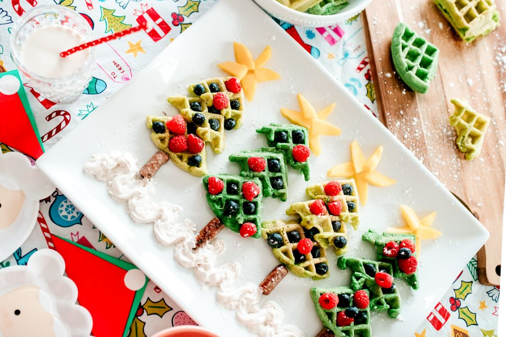 Make Christmas morning breakfast for kids even more festive with these tree waffles!