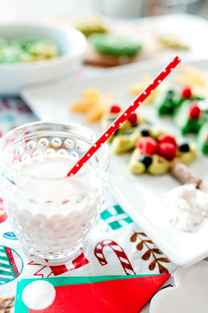 A whimsically styled Christmas breakfast featuring Milk for Santa!
