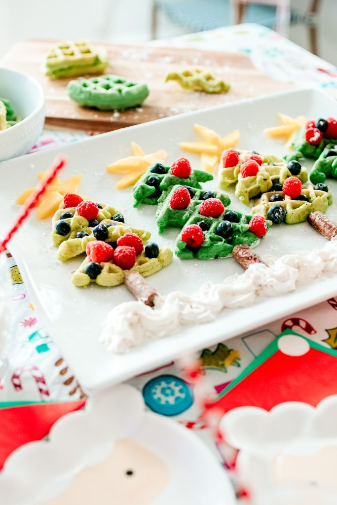 Fruit covered Christmas Tree waffles are a perfect holiday treat and a fun Christmas breakfast for kids!
