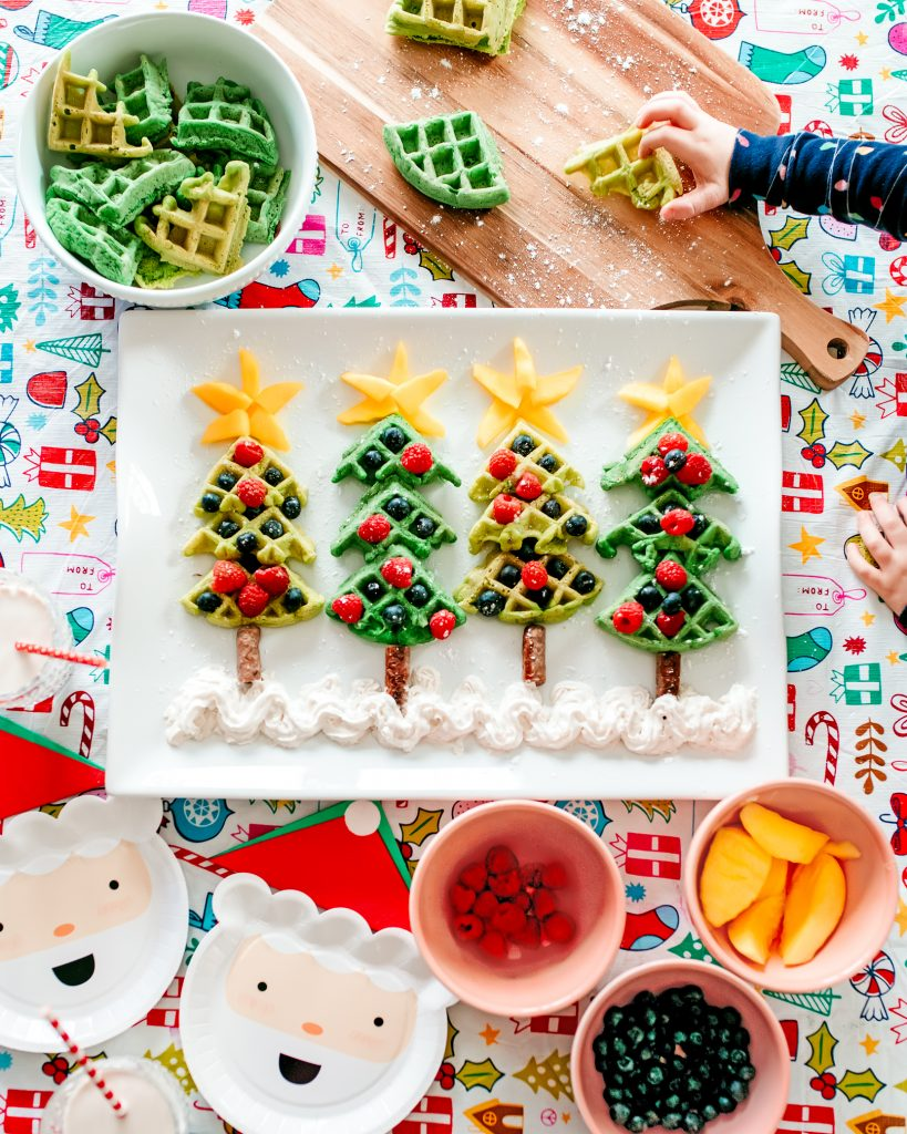 Whimsical Christmas Tree Waffles made with fruit ornaments ! Fun and festive holiday Christmas breakfast to make with your kids!