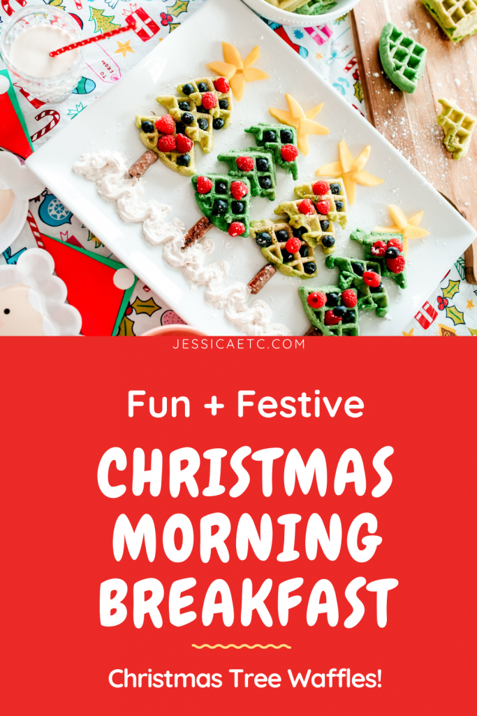 Make a fun and festive treat for Christmas morning! These whimsical Christmas Tree Waffles are decorated with fruit and adorably sweet!