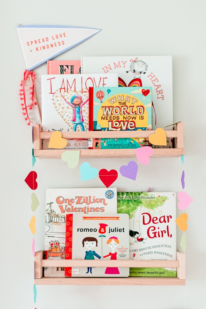 Valentine's Day Book Shelves. Bright and colorful Valentine's Day decor. Valentine's Day Books for Kids