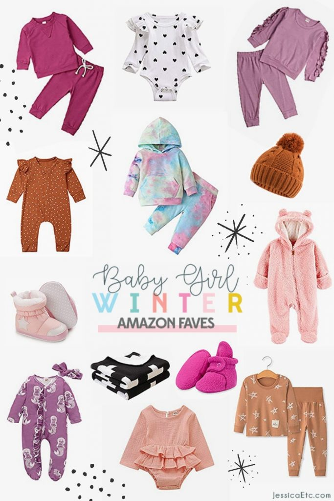 Brighten up your winter with this collection of cute baby girl clothes Amazon faves. Cozy matching sets, ruffles, and tie-dye for baby girl.