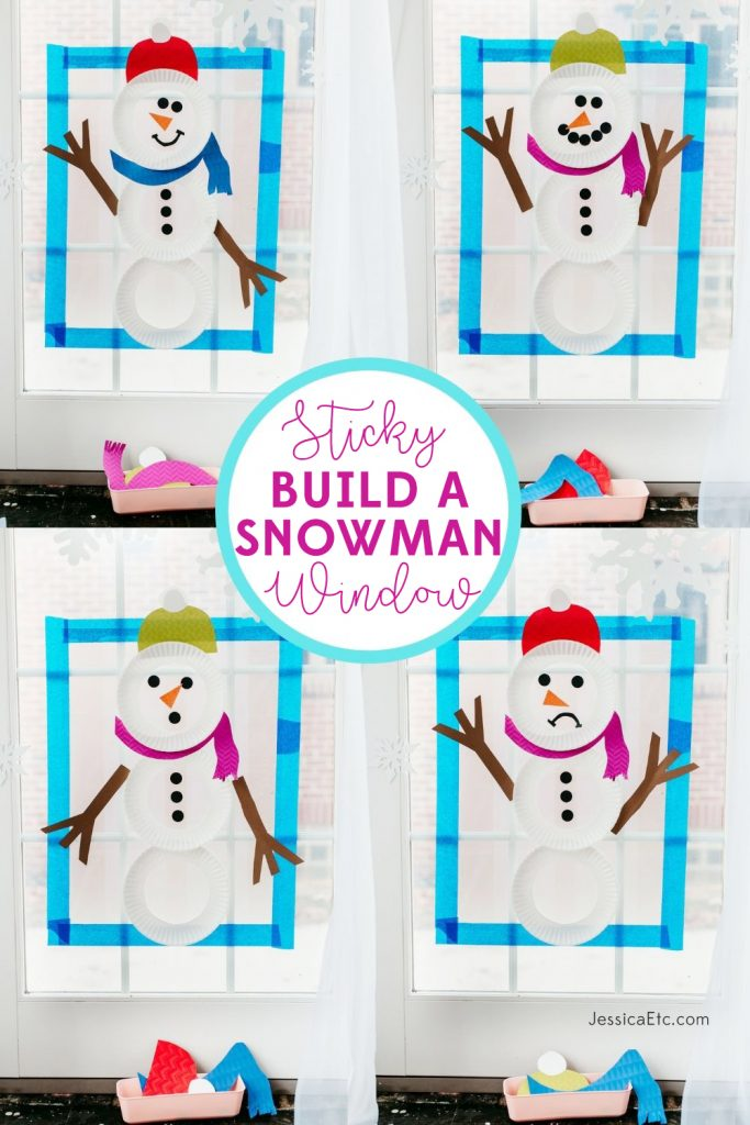 Let your toddler or preschooler build endless combinations of snowmen on a sticky window! Learn preschool skills like colors, feelings, weather, and prepositions with this winter activity!