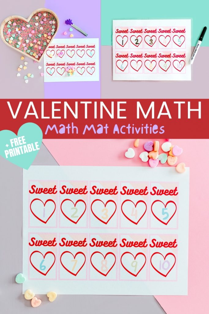 Free Printable and Valentine Math activities! Preschool and Kindergarten counting, adding, grouping math activities using Valentine math manipulatives and a math mat!