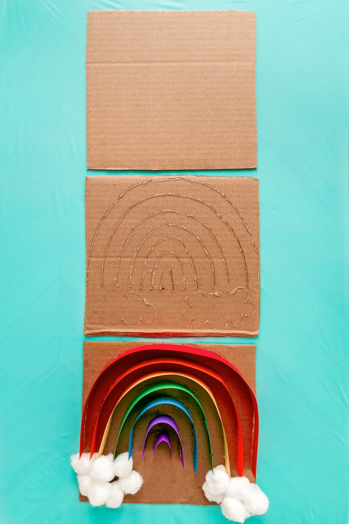 How to turn an old box into a rainbow sorting sensory activity for kids!