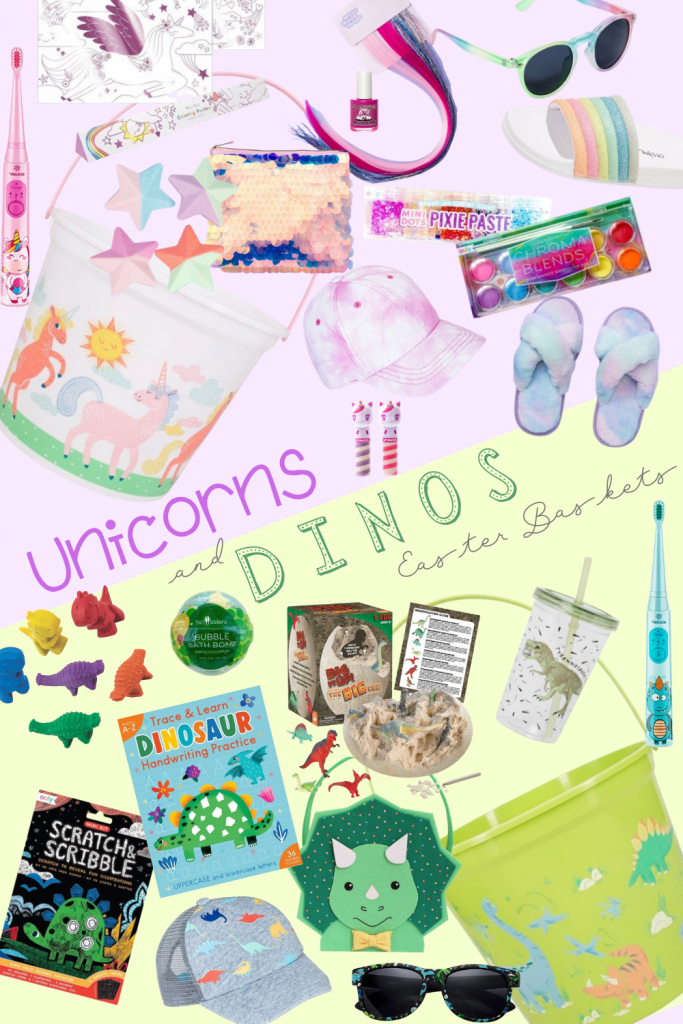 Easter Basket Ideas for Unicorn and Dinosaur lovers! Create a themed Easter basket by filling them with these fun stuffers!